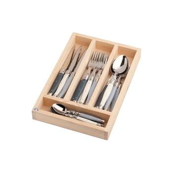 Set 24 tacâmuri din inox, în cutie de lemn, Jean Dubost Atelier