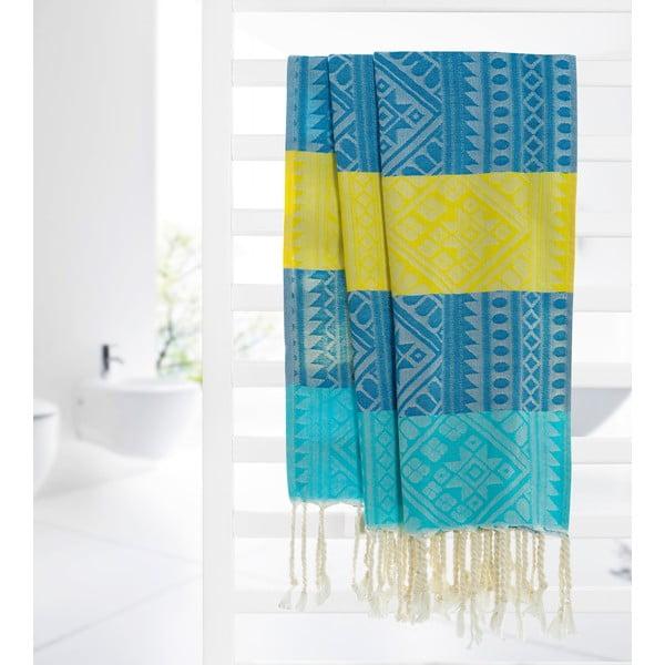 Hammam osuška Aztec, žlutá/modrá