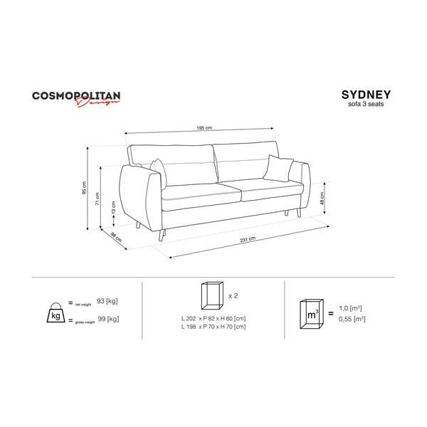 Trojmístná rozkládací pohovka s úložným prostorem ve stříbrné barvě Cosmopolitan design Sydney