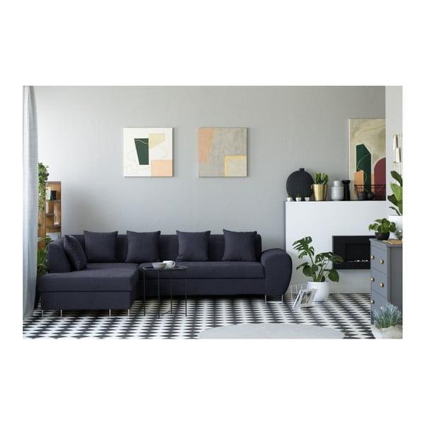Canapea extensibilă cu spațiu pentru depozitare Kooko Home XL Left Corner Sofa, albastru închis