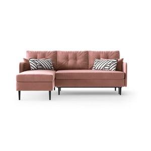 Růžová rohová rozkládací pohovka Daniel Hechter Home Memphis Pink, levý roh