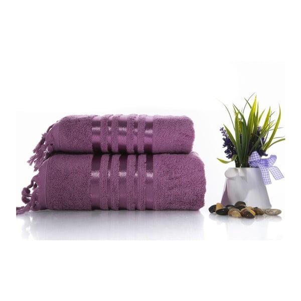 Set fialové bavlněné osušky a ručníku Ladik Eleanor