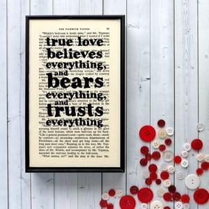Plakát v dřevěném rámu Dickens True Love