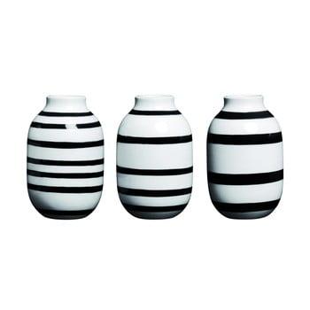 Set 3 vaze din ceramică Kähler Design Omaggio, înălțime 8 cm, negru – alb de la Kähler Design