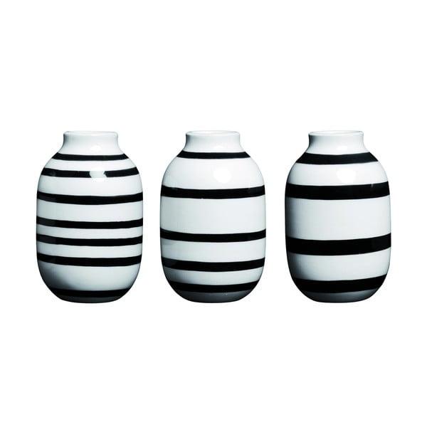 Sada 3 černo-bílých kameninových váz Kähler Design Omaggio, výška 8 cm