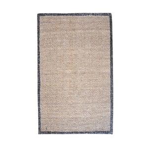 Konopný koberec s koženým lemem Brazilia Dark, 120x180 cm