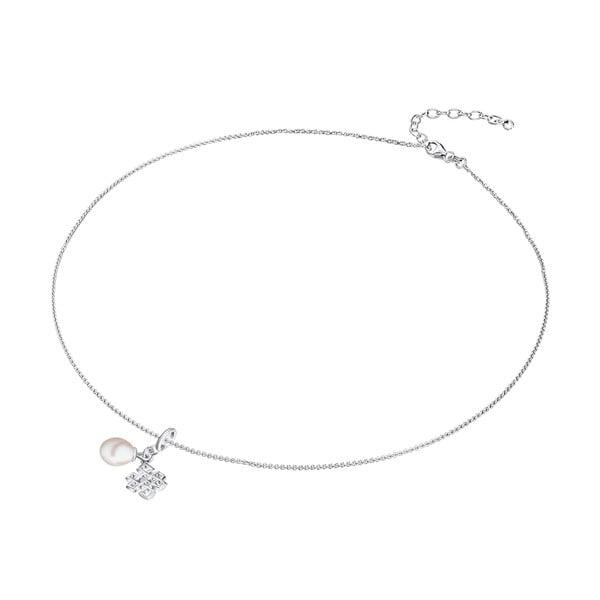 Stříbrný náhrdelník s přívěskem a perlou Chakra Pearls Done, 42 cm