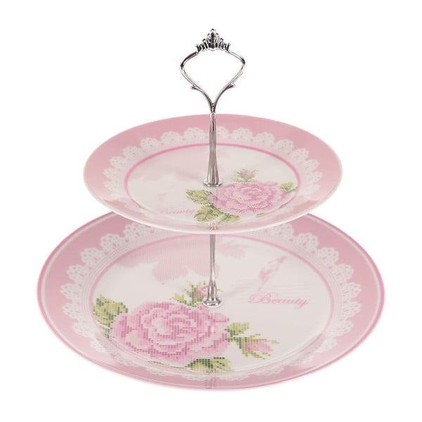 Dvoupatrový stojan na dortíky Pink Roses