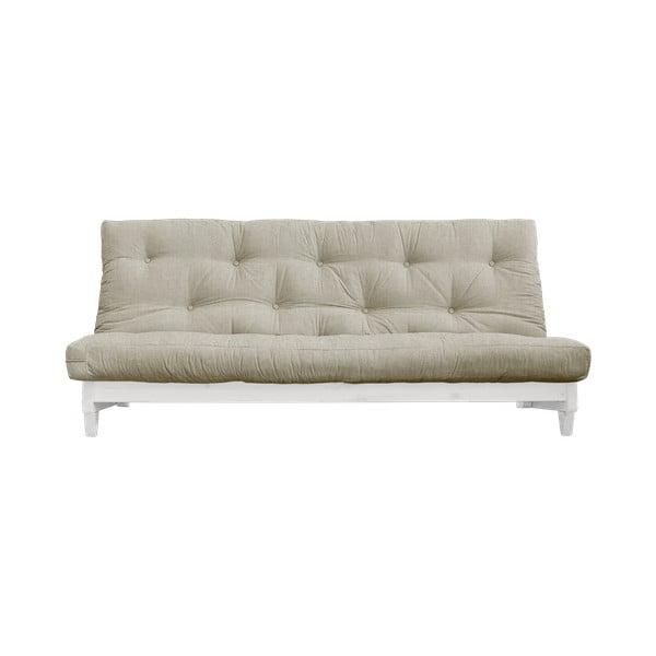Sofa rozkładana z lnianym pokryciem Karup Design Fresh White/Linen