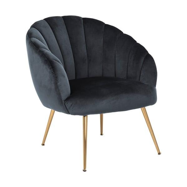Ciemnoszary fotel z aksamitnym obiciem i metalowymi nogami Actona Daniella
