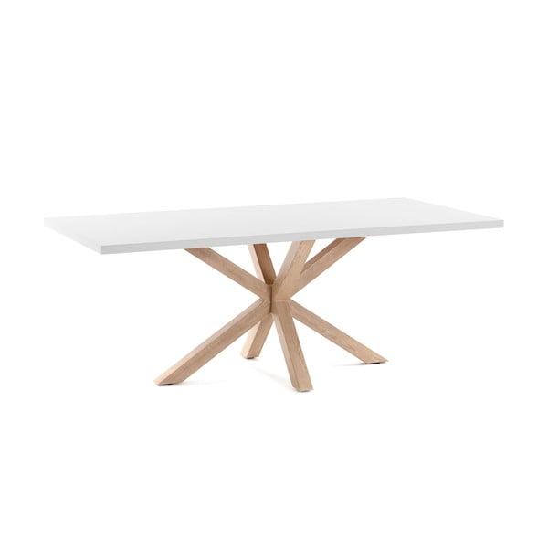 Biely jedálenský stôl s prírodným podnožím La Forma Arya, dĺžka 160 cm