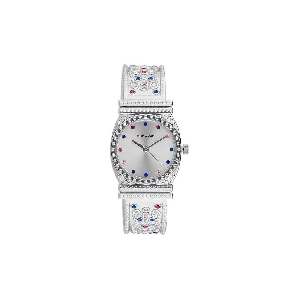Dámské hodinky stříbrné barvy s krystaly Manoush Afrodité 52b14ab291