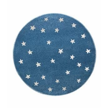 Covor rotund KICOTI Stars, ø 133 cm, albastru-alb imagine