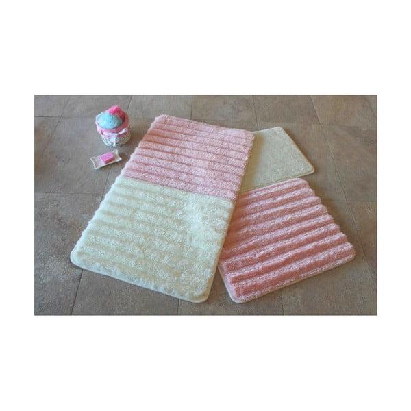 Sada 3 bílo-růžových předložek do koupelny Alessia