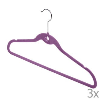 Set 3 umerașe Domopak Velvet Hangers, violet de la Domopak