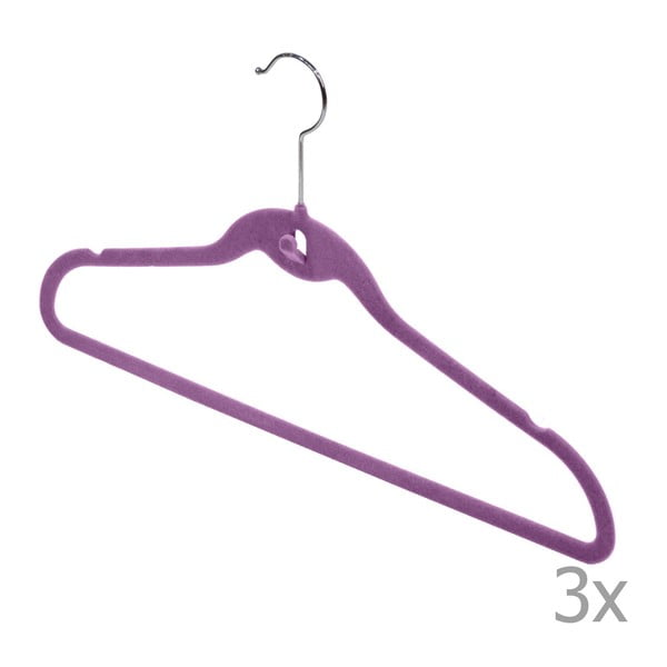 Velvet Hangers lila vállfa, 3 darab - Domopak