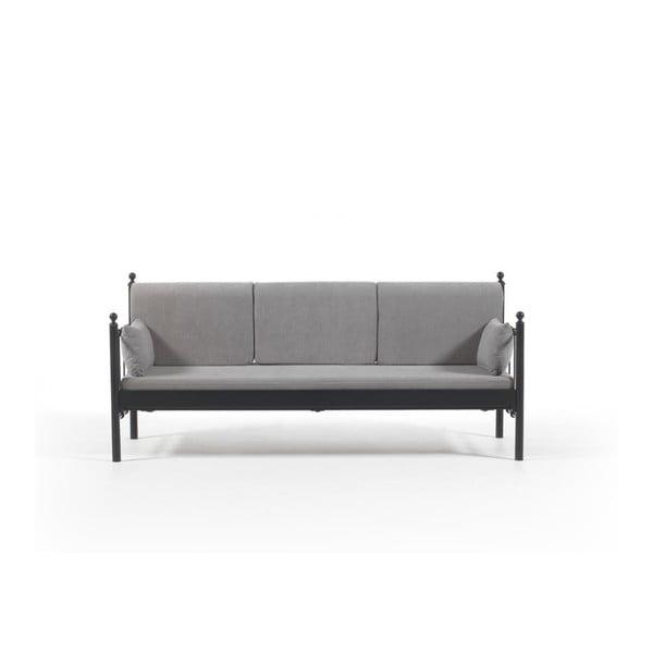 Canapea cu 3 locuri de grădină Lalas DK, 76 x 209 cm, gri-negru