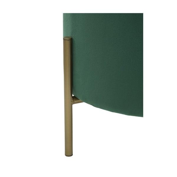 Zelený puf s železnými nohami ve zlaté barvě Mauro Ferretti Rotondo
