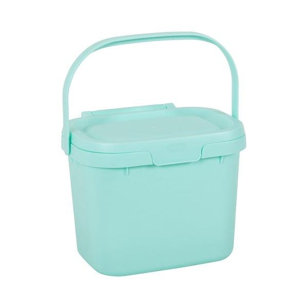 Găleată multifuncțională din plastic, cu capac, pentru bucătărie Addis, 24,5 x 18,5 x 19 cm, albastru deschis