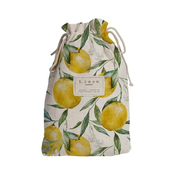 Worek podróżny z domieszką lnu Linen Couture Blue Lemons, wys. 44 cm