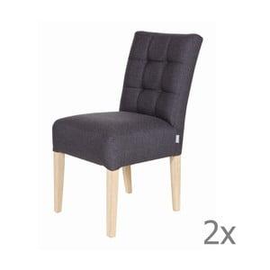 Sada 2 tmavě šedých dřevěných židlí De Eekhoorn Tijmen