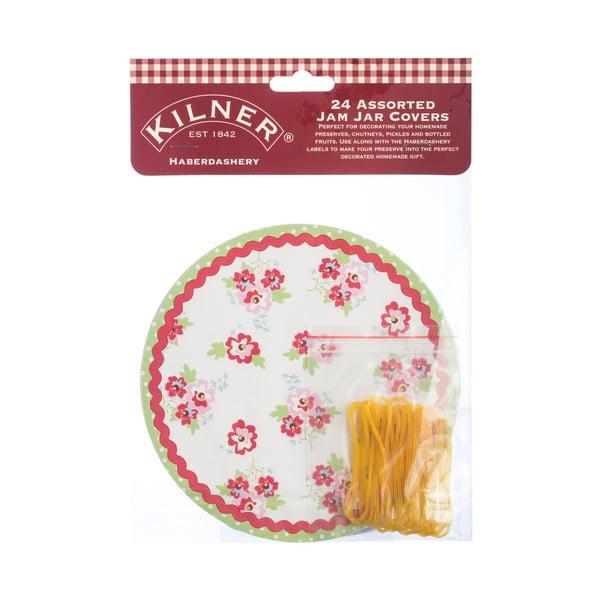 Sada 24 ozdobných papírků na sklenice s marmeládou s motivem patchworku Kilner