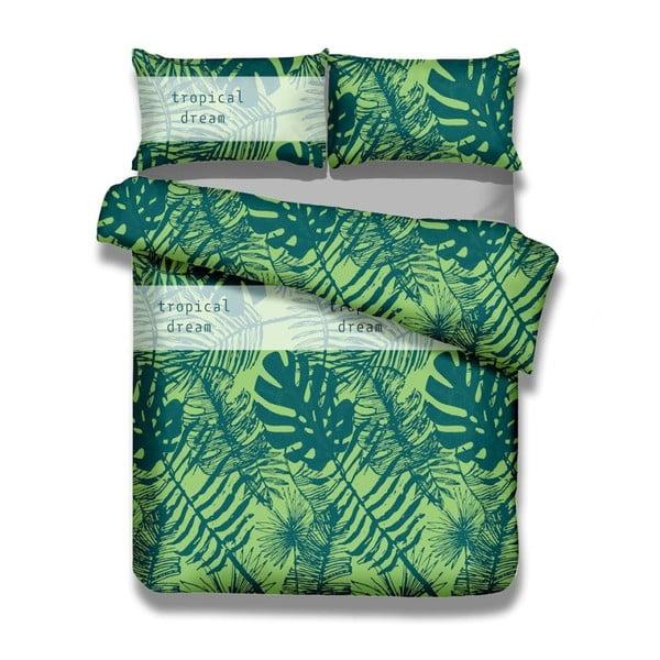 Zestaw 2 bawełnianych poszew i 2 poszewek na poduszki AmeliaHome Averi Rainforest, 135x200 cm + 80x80 cm