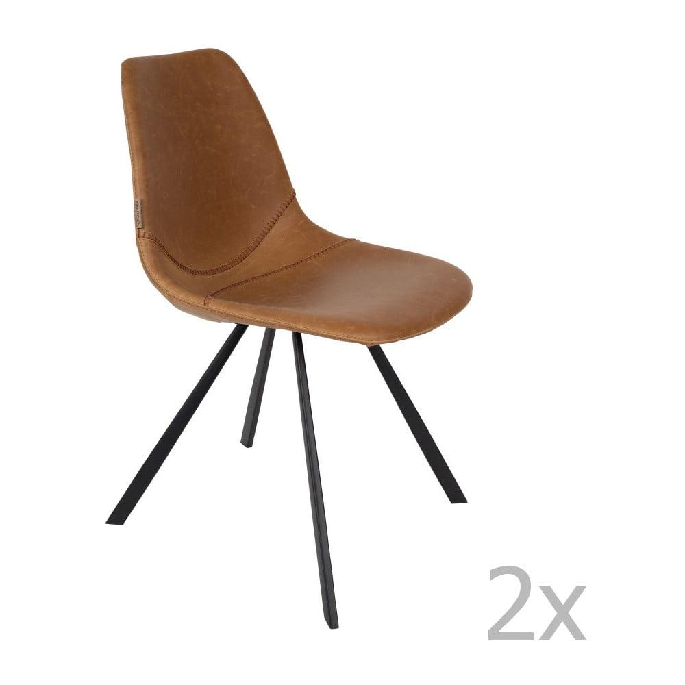 Sada 2 hnědých židlí Dutchbone Franky