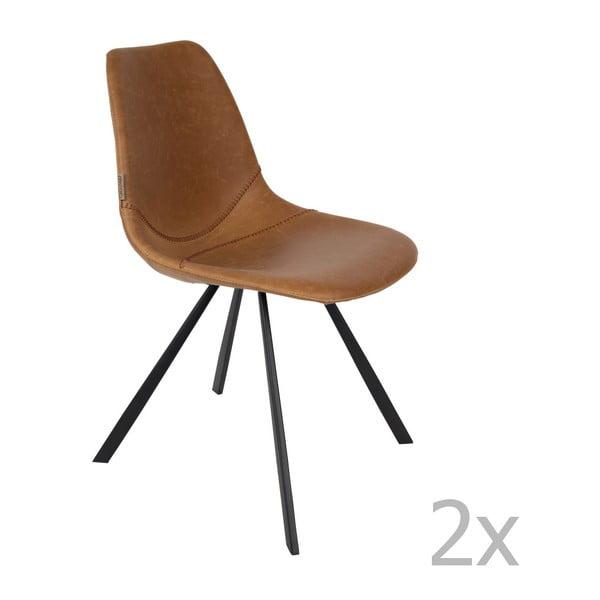 Set 2 scaune Dutchbone Franky, maro