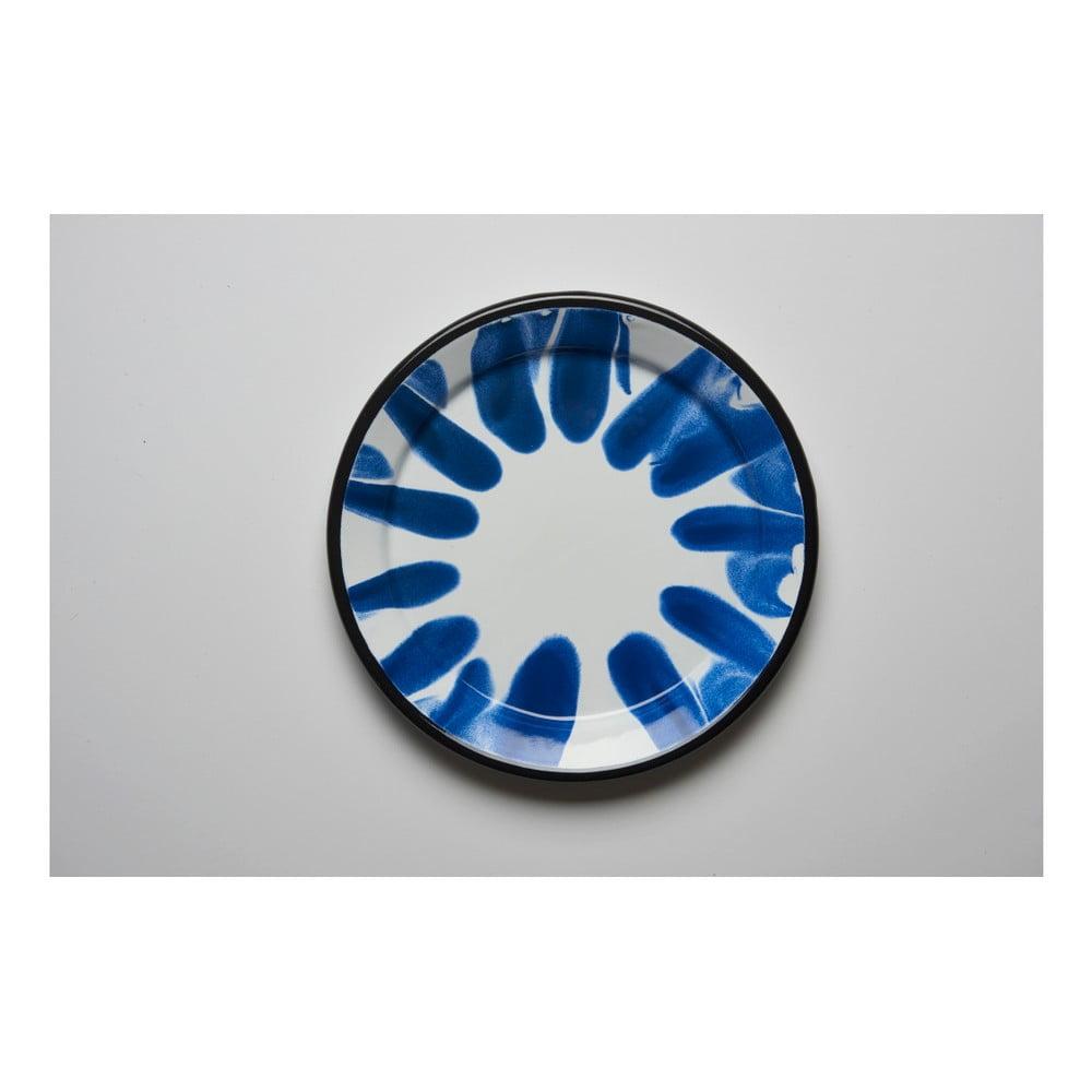 Modrobílý smaltovaný talíř Kapka Little Color, Ø24,5cm