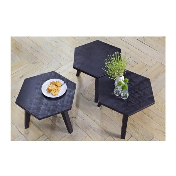 Černý odkládací stolek z borovicového dřeva De Eekhoorn Hex