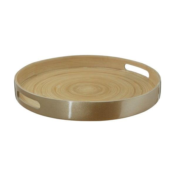 Servírovací podnos z bambusu v zlatej farbe Premier Housewares, ⌀ 35 cm