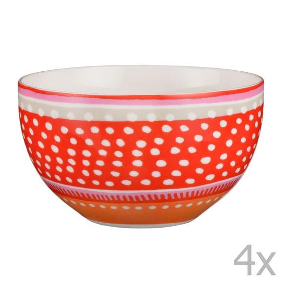 Sada 4 porcelánových misek s puntíky Oilily 15 cm, červená