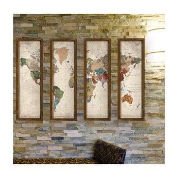 Tablou decorativ din mai multe piese World, 19 x 70 cm imagine