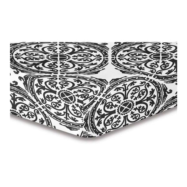 Cearşaf cu elastic DecoKing Hypnosis Malaga, 220 x 240 cm, alb - gri