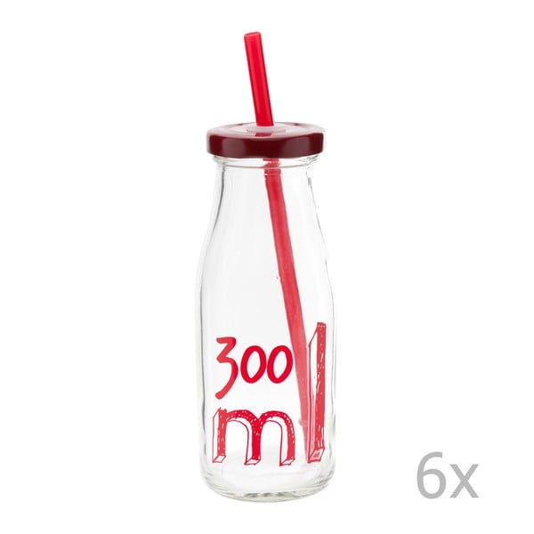 Sada 6 lahví s víčkem a brčkem 300 ml