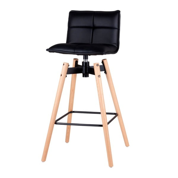 Černá otočná barová židle s nohama z bukového dřeva sømcasa Janie