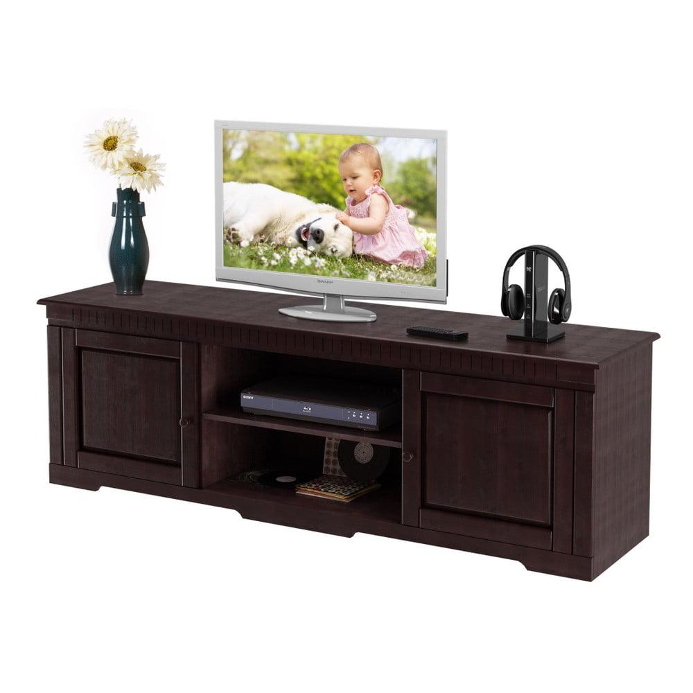 Tmavě hnědý TV stolek z borovicového dřeva Støraa Larry