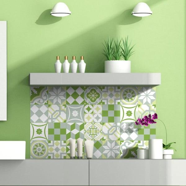Green Patchwork Tiles 24 db-os falmatrica szett, 10 x 10 cm - Ambiance