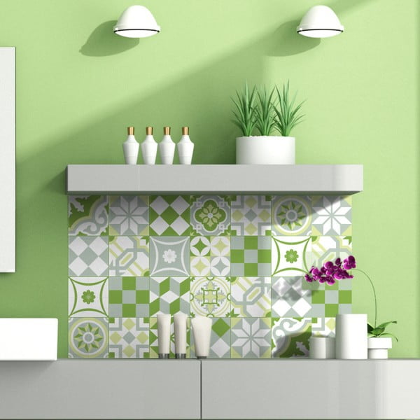Sada 24 nástěnných samolepek Ambiance Green Patchwork Tiles, 10 x 10 cm