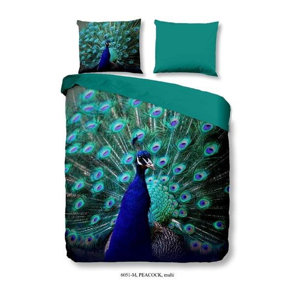 Povlečení na dvoulůžko z mikroperkálu Muller Textiels Mighty Peacock, 200 x 200 cm