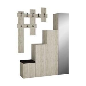 Set šedé skříně a nástěnného věšáku Homitis Up