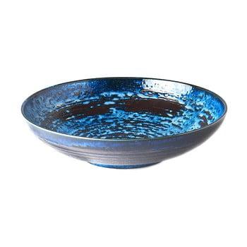Bol servire din ceramică MIJ Copper Swirl, ø28 cm, albastru