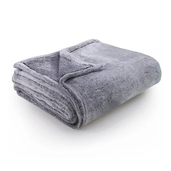 Šedomodrá deka z mikrovlákna DecoKing Fluff Charcoal, 150 x 200 cm