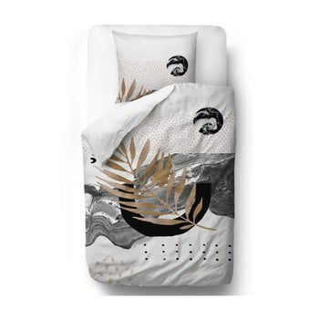 Lenjerie de pat din bumbac satinat Butter Kings Marbling Flow, 200 x 200 cm