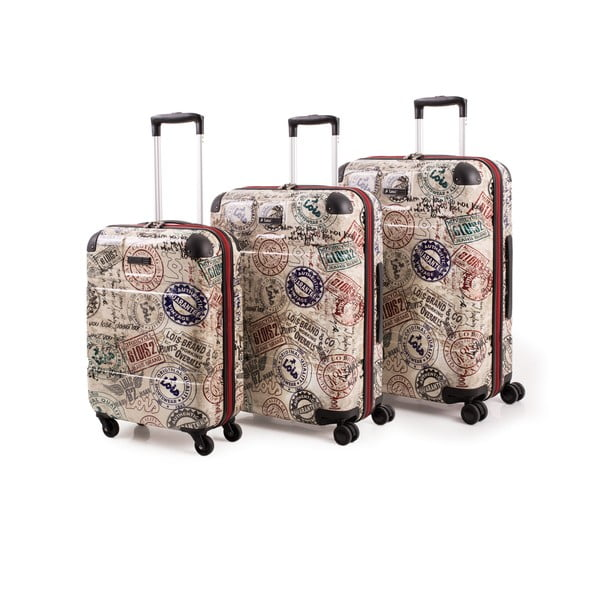 Set 3 cestovních kufrů Lois Trolley Negro