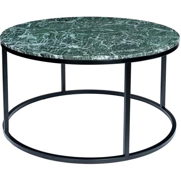 Ciemnozielony stolik marmurowy z czarną konstrukcją RGE Accent, ⌀85cm
