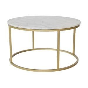 Mramorový odkládací stolek s konstrukcí v barvě mosazi RGE Accent, ⌀85cm