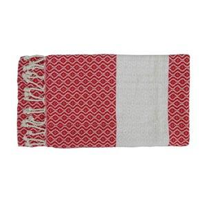 Prosop țesut manual din bumbac premium Oasa, 100 x 80 cm, roșu