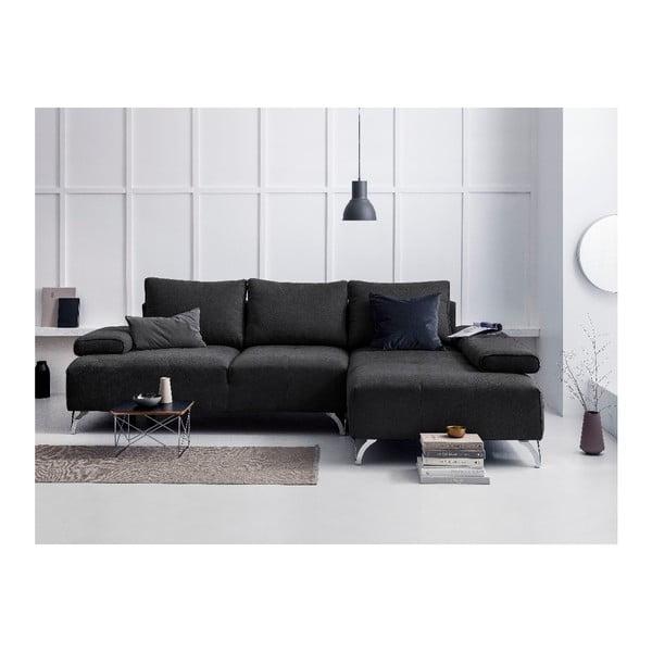 Tmavě šedá rohová rozkládací pohovka Windsor & Co Sofas Virgo, pravý roh